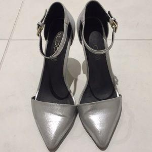 Aldo silver metallic pointy toe ankle strap heel